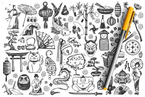 Japan Hand Drawn Doodle Set