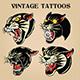 Tiger Black Tiger Old Scholl tattoo Vintgae Set vector illustration 02 - GraphicRiver Item for Sale