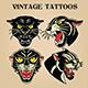 Tiger Black Tiger Old Scholl tattoo Vintgae Set vector illustration 03 - GraphicRiver Item for Sale