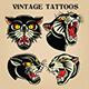 Tiger Black Tiger Old Scholl tattoo Vintgae Set vector illustration 04 - GraphicRiver Item for Sale
