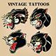 Tiger Black Tiger Old Scholl tattoo Vintgae Set vector illustration 05 - GraphicRiver Item for Sale