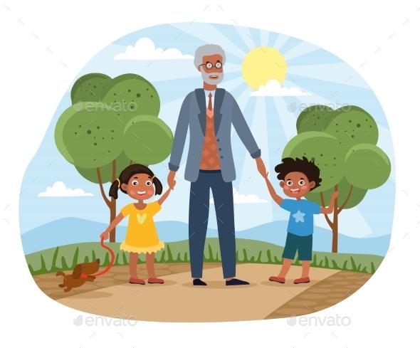 Grandchildren Walking in the Park with Grandad