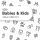Babies and Kids Unique Outline Icons - GraphicRiver Item for Sale