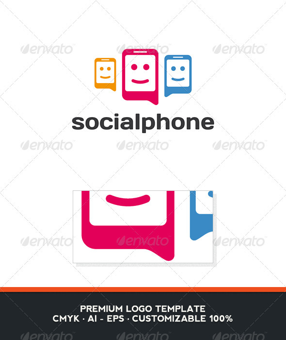 Social Phone Logo Template