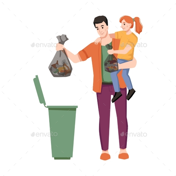 Dustbin Father and Daughter Throw Garbage in Trash