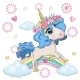 Magical Unicorn and Rainbow - GraphicRiver Item for Sale