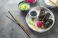 Smoked sticky beef short ribs with radish and rice, copy space - PhotoDune Item for Sale