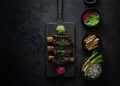 Braise beef short ribs, asian style with rice and radish, dark photo, copy space - PhotoDune Item for Sale