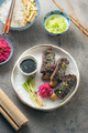 Korean style beef short ribs with colourful radish and rice, close view - PhotoDune Item for Sale