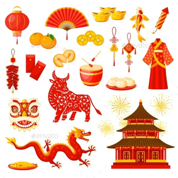 Chinese New Year Holiday Symbols Vector Icons Set