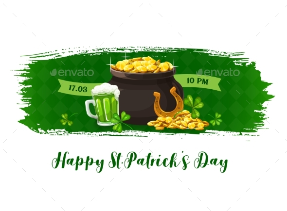 Happy Patricks Day Vector Banner with Golden Pot
