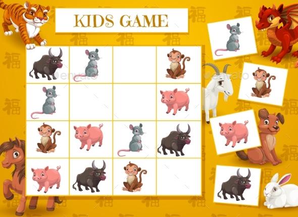 Kid New Year Crossword with Chinese Zodiac Animals