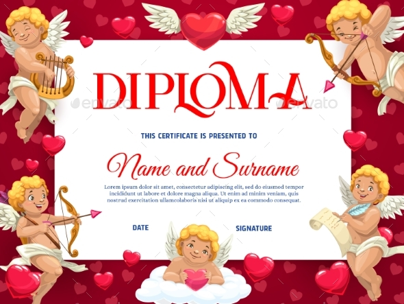 Saint Valentines Day Kids Diploma Vector Template