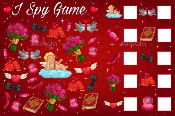 Valentine Day Children I Spy Puzzle Book Page