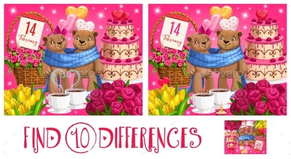 Valentine Day Kid Find Ten Differences Puzzle Game