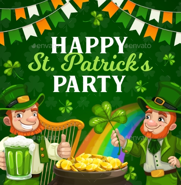 Patricks Day Party Poster of Irishmen with Clovers