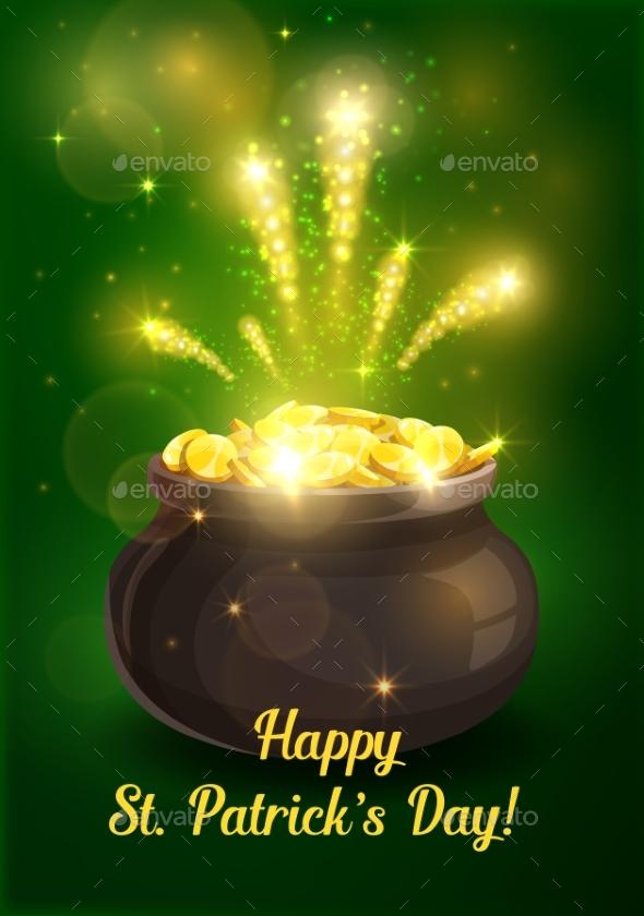Patricks Day Holiday Leprechaun Pot of Gold