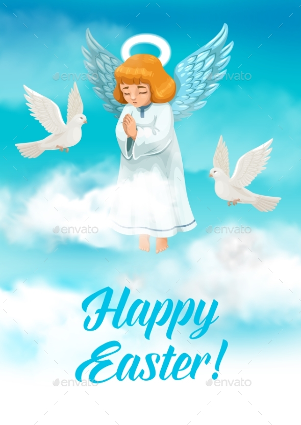 Easter Angel with Wings and Halo