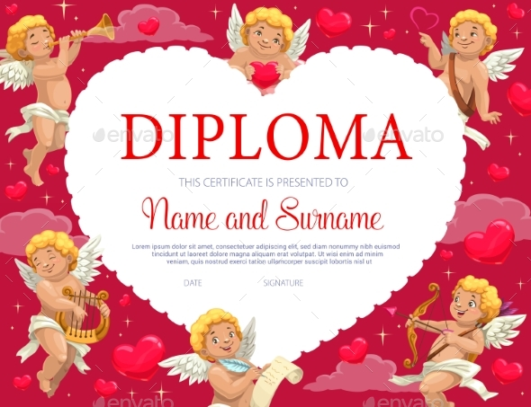 Valentines Day Certificate Diploma with Cupids
