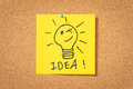 yellow sticker note with lightbulb and idea message - PhotoDune Item for Sale