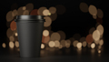 330 ml black coffee paper cup with blurred background. 3d rendering illustration - PhotoDune Item for Sale