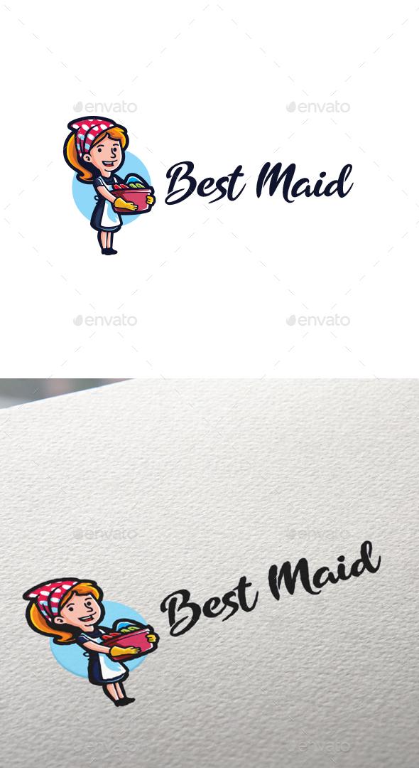 Cartoon Best Maid Character Mascot Logo