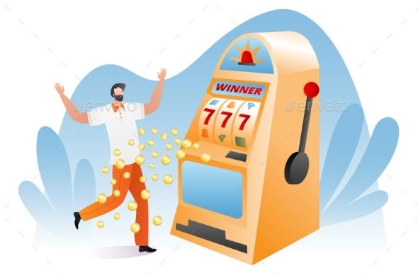 Gambler Male Character Happy Victory Slot Machine