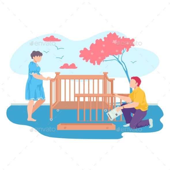Lovely Young Family Together Collect Baby Cot