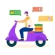 Express Delivery Service Man Ride Motor Scooter - GraphicRiver Item for Sale