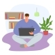 Man Sitting Home Surf Internet with Gadget Tablet - GraphicRiver Item for Sale