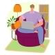 Man Sitting Home Armchair Surf Internet Laptop - GraphicRiver Item for Sale