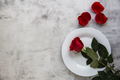 Festive table setting with red roses for valentines day. - PhotoDune Item for Sale
