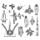 Space Vector Icons Astronaut Rocket and Satellite - GraphicRiver Item for Sale