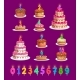 Candles on Birthday Cakes with Age Numbers Set - GraphicRiver Item for Sale