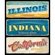 American States Illinois Indiana and California - GraphicRiver Item for Sale
