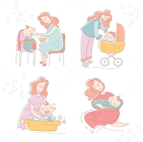 Four Sketches of a Loving Mother and Baby Showing