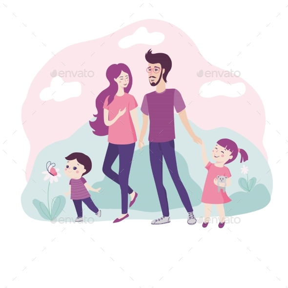 PrintHappy Young Family Walking Together in Nature