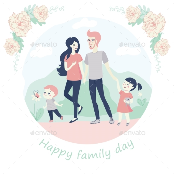 Happy Family Day Concept with a Young Family with