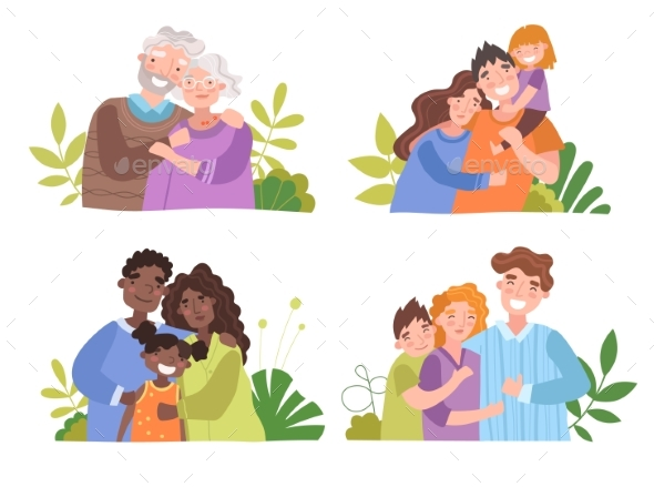 Medical Insurance Template Happy Family Concept