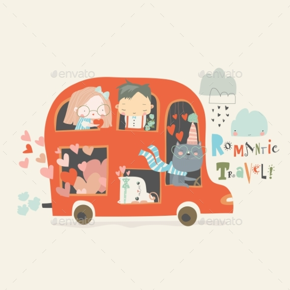 Cartoon Red Valentines Day Bus with Couples