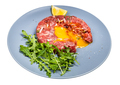 served Steak tartare on blue plate isolated - PhotoDune Item for Sale