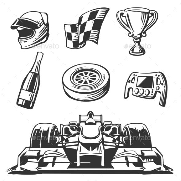 Car Race Icons Set