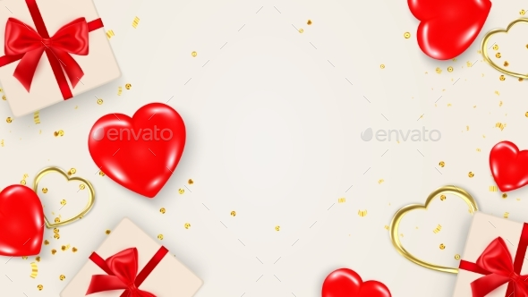Valentines Day Banner or Card Template with