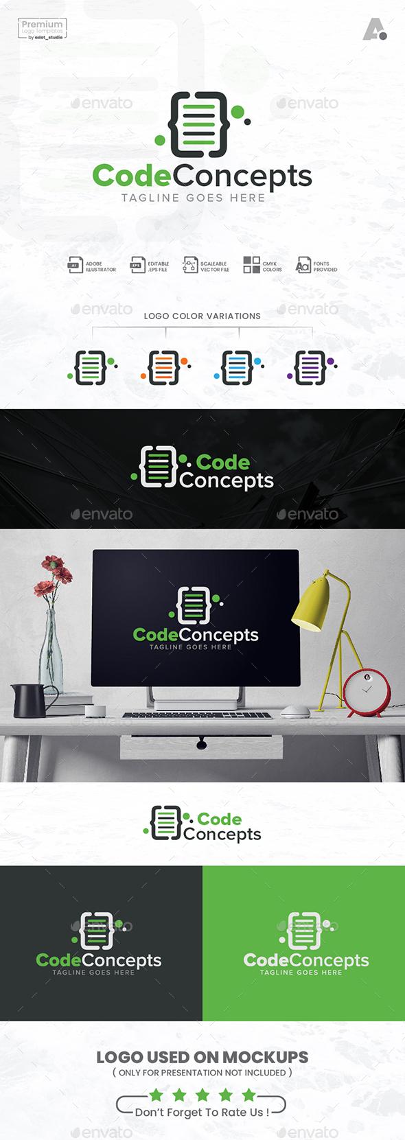 Coding Logo, Code concepts logo