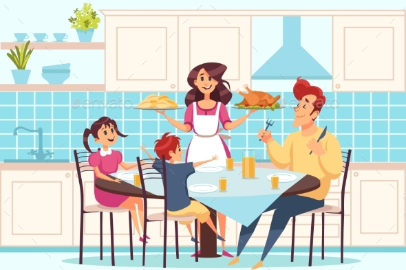 Family with Children Sitting at Dining Table