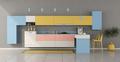Colorful minimalist kitchen with peninsula - PhotoDune Item for Sale