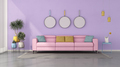 Colorful living room with pink modern sofa - PhotoDune Item for Sale