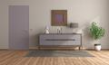 Minimalist room with purple sideboard and closed door - PhotoDune Item for Sale