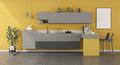 Yellow and gray minimalist kitchen with peninsula - PhotoDune Item for Sale