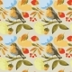 Watercolor Sketch Seamless Pattern with Bird Robin - GraphicRiver Item for Sale